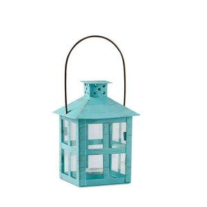 Distressed blue lanterns set of 2